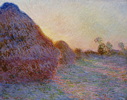 Farm Fields Paintings - Haystacks by Claude Monet