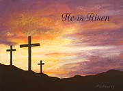 Jesus Pastels Prints - He is Risen Print by Marna Edwards Flavell
