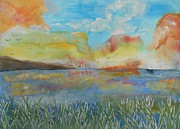 Invitations Paintings - He leads me beside the still waters by Barbara McNeil