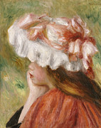 Chin On Hand Paintings - Head of a Young Girl in a Red Hat  by Pierre Auguste Renoir