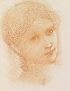 Great Britain Drawings - Head Study of a Girl by Sir Edward Burne-Jones