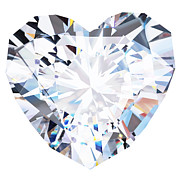 Diamond Prints - Heart Diamond  Print by Setsiri Silapasuwanchai