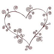 Swirls Drawings Posters - Heart Poster by Frank Tschakert