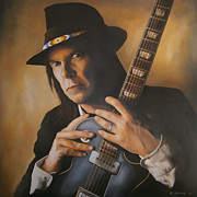 Neil Young Painting Posters - Heart of Gold Poster by Michael Payne