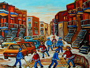 Montreal Winter Scenes Prints - Heat Of The Game Print by Carole Spandau