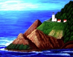 North American Lighthouses - Paintings By Frederic Kohli - Heceta Head Lighthouse by Frederic Kohli