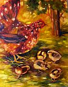 Vines Paintings - Hen and Chicks by Peggy Wilson