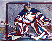 Goalie Painting Framed Prints - Henrik Lundqvist  Framed Print by Steve Benton