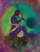 Couple Painting Prints - Her Loves Embrace Print by Ilisa  Millermoon