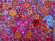 Abstract Art Kunst Abstrakte Paintings - Heres My Heart by Suzeee Creates