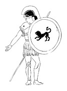 Drawn Prints - hero - warrior of ancient Greece Print by Michal Boubin