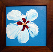Cafes Painting Originals - Hibiscus On Blue by Karen Nicholson