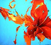 Lin Petershagen Prints - Hibiskoblue Print by Lin Petershagen