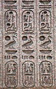 Text Photo Posters - Hieroglyphs on ancient carving Poster by Jane Rix