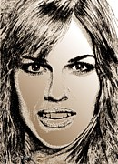 Celebrity Posters Mixed Media - Hilary Swank in 2007 by J McCombie