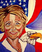 Hillary Clinton Painting Prints - Hillary Clinton Print by Rusty Woodward Gladdish
