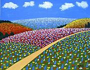 Floral Landscape Paintings - Hills of Flowers by Frederic Kohli