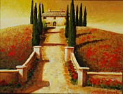 Villa Paintings - Hilltop  Villa by Santo De Vita