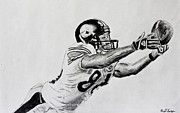 Steelers Drawings Framed Prints - Hines Ward Diving Catch  Framed Print by Bryant Luchs