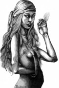 Smoking Drawings Posters - Hippy Girl Poster by Rick Ritchie