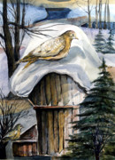 Winter Night Mixed Media Posters - His Eye is on the Sparrow Poster by Mindy Newman