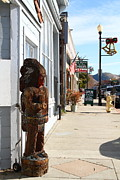 Small Towns Prints - Historic Niles District in California Near Fremont . Indian Statue at The Devils Workshop and Mercan Print by Wingsdomain Art and Photography