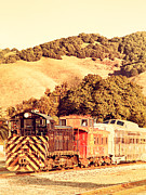 Caboose Prints - Historic Niles Trains in California . Old Southern Pacific Locomotive and Sante Fe Caboose . 7D10819 Print by Wingsdomain Art and Photography