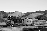 Old Caboose Photo Metal Prints - Historic Niles Trains in California . Southern Pacific Locomotive and Sante Fe Caboose.7D10819.bw Metal Print by Wingsdomain Art and Photography