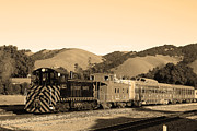 Old Caboose Prints - Historic Niles Trains in California.Southern Pacific Locomotive and Sante Fe Caboose.7D10819.sepia Print by Wingsdomain Art and Photography