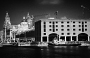 Warehouses Framed Prints - Historic Warehouses In The Basin Area At The Albert Dock Liverpool Merseyside England Uk Framed Print by Joe Fox