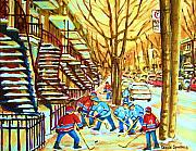 Montreal Buildings Painting Posters - Hockey Game near Winding Staircases Poster by Carole Spandau