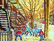 Hockey Game Near Winding Staircases Print by Carole Spandau