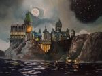 Moon Painting Posters - Hogwarts Castle Poster by Tim Loughner