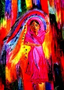 Oil Pastels Paintings - Holi Dancer by Angela Pari  Dominic Chumroo