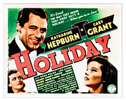 Cary Posters - Holiday, Cary Grant, Katharine Hepburn Poster by Everett