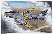 Fighter Jet Drawings - Hollywood Fighter by Trenton Hill