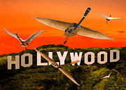 Flying Guitars Posters - Hollywood Rocks Poster by Eric Kempson