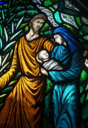 Holy Family Photos - Holy Family Stained Glass by Munir Alawi