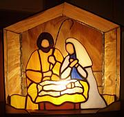 Baby Jesus Glass Art Originals - Holy Night by Liz Shepard