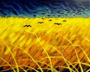 Crows Greeting Cards Posters - Homage To Vincent Poster by John  Nolan