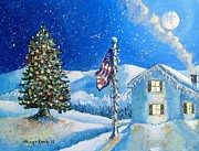 Snowy Evening Painting Posters - Home for the Holidays Poster by Shana Rowe