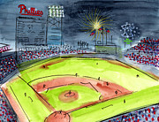Baseball Painting Metal Prints - Home of the Philadelphia Phillies Metal Print by Jeanne Rehrig