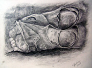 Resting Drawings - Homeless Feet by Shelley Bain