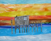 Cottage Glass Art - Honeymoon Sunset by Charles McDonell