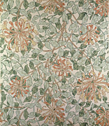 Textile Tapestries - Textiles Posters - Honeysuckle Design Poster by William Morris