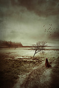 Red Robe Posters - Hooded figure walking in bleak landscape Poster by Sandra Cunningham
