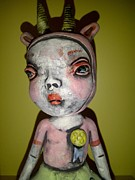 Pottery Ceramics Originals - Horned Girl Cool by Kathleen Raven