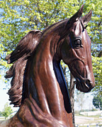 Kentucky Horse Park Photo Prints - Horse Head in Bronze Print by Roger Potts