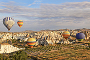 Chimneys Prints - Hot air Balloons in Ravine Print by Kantilal Patel