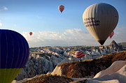 Chimneys Photo Framed Prints - Hot air balloons over Cappadocia Framed Print by RicardMN Photography